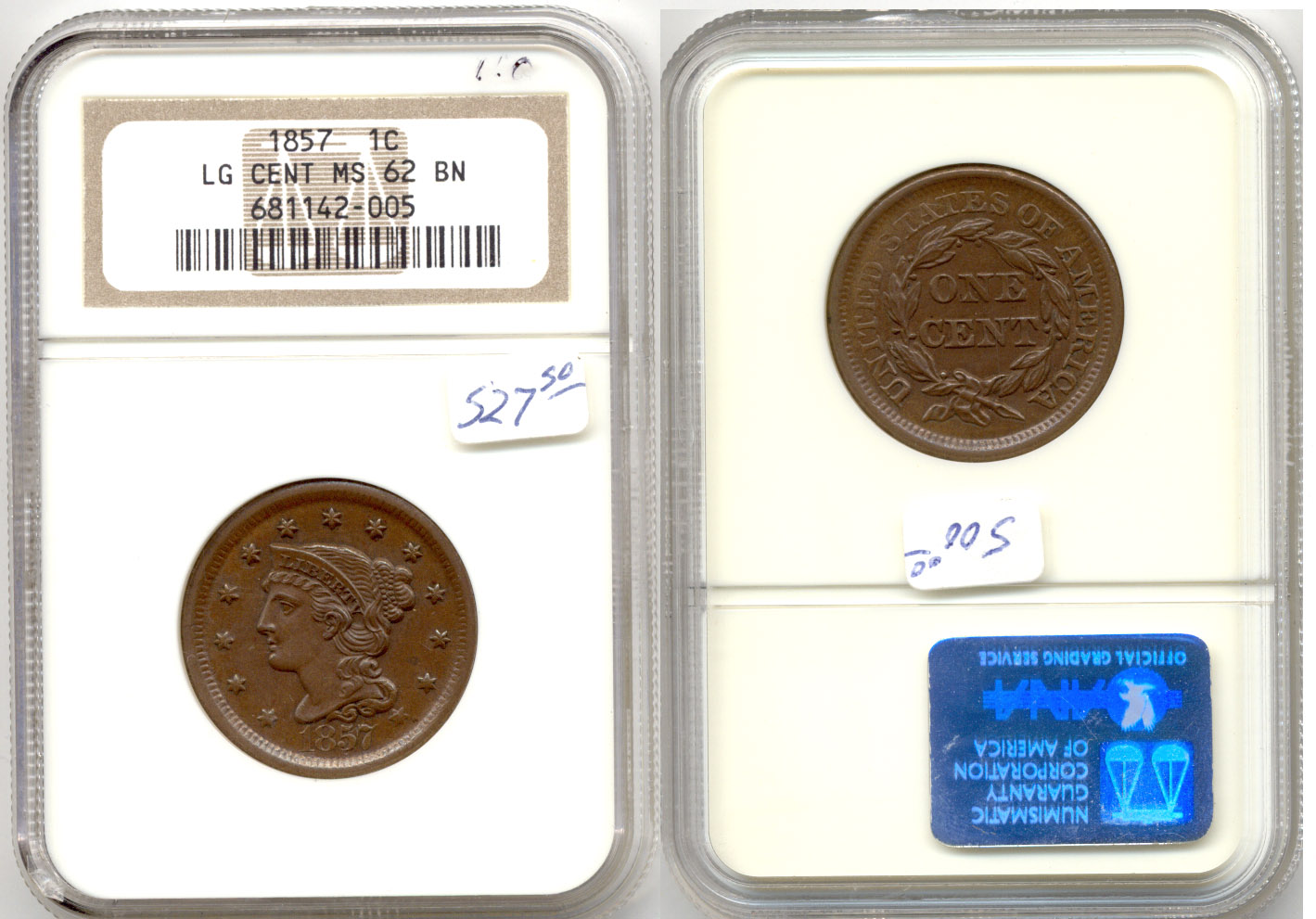 1857 Coronet Large Cent NGC MS-62 Brown