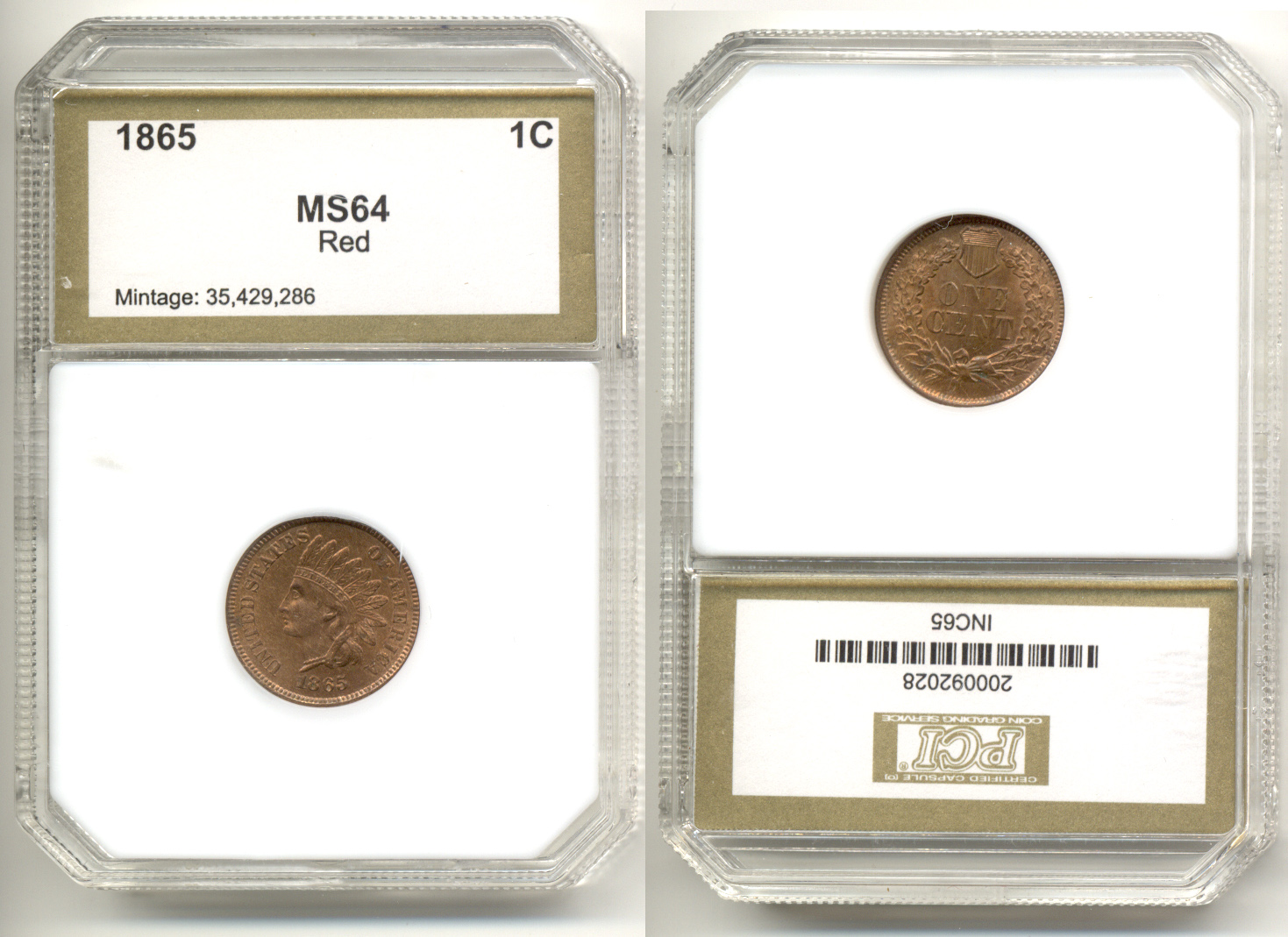 1865 Indian Head Cent PCI MS-64 Red