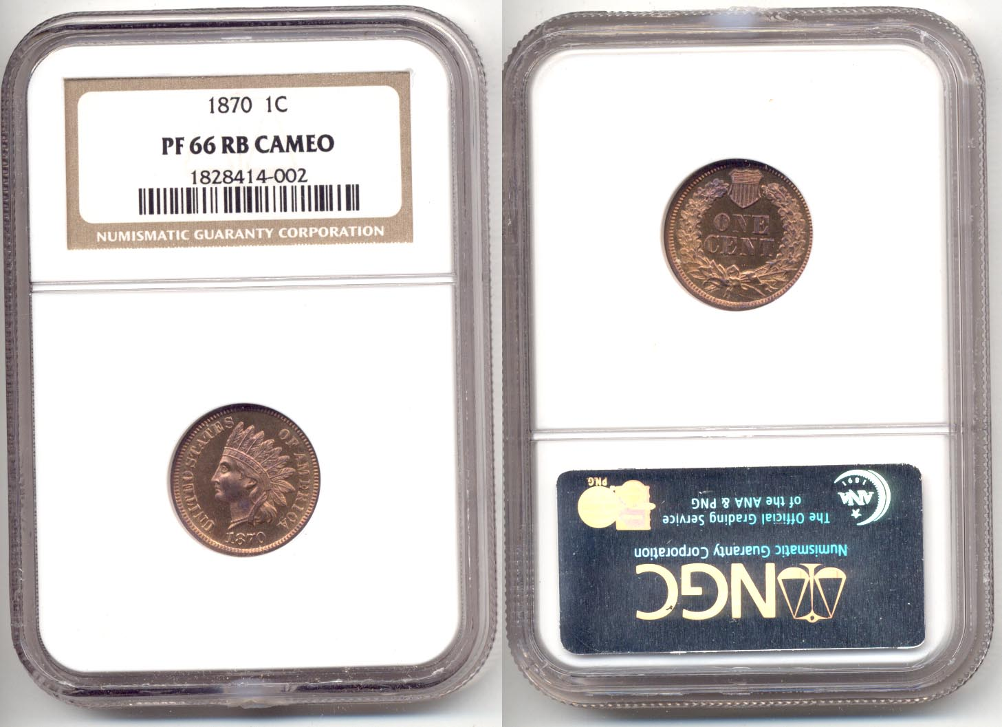 1870 Indian Head Cent NGC Cameo Proof-66 Red Brown