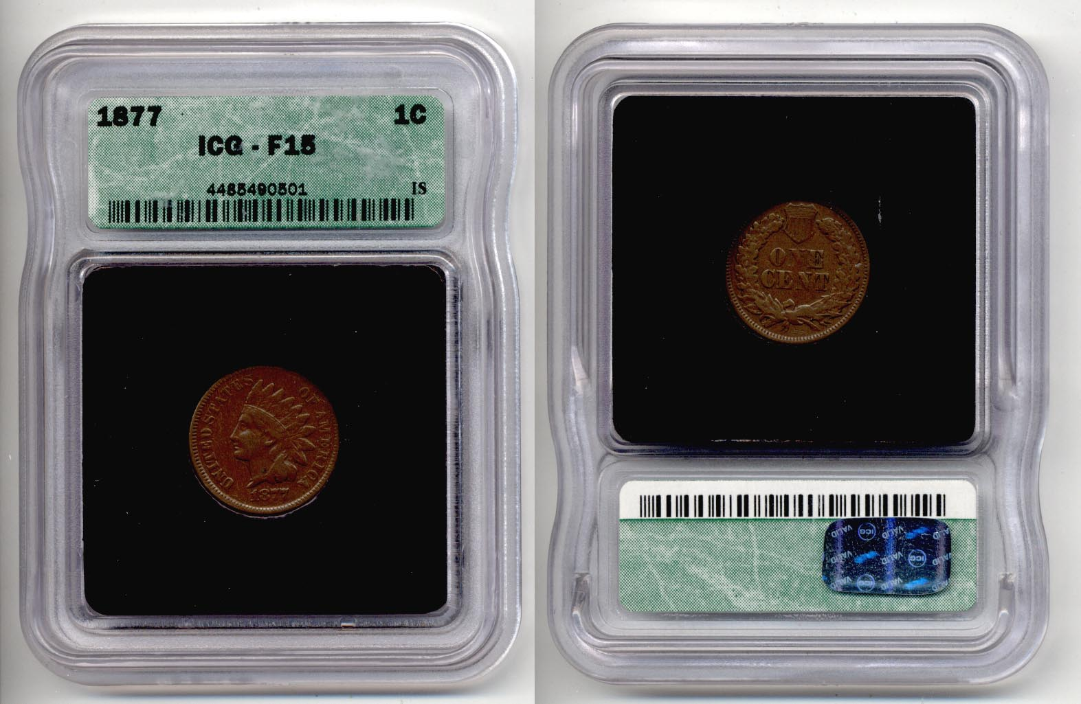 1877 Indian Head Cent ICG F-15
