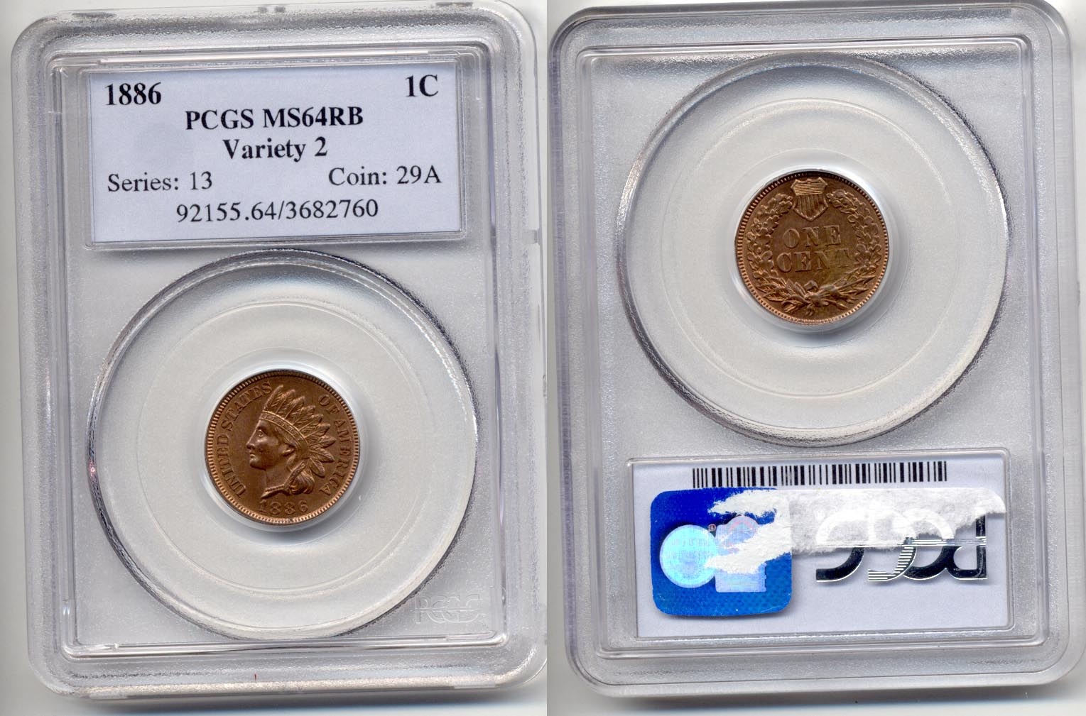 1886 Type 2 Indian Head Cent PCGS MS-64 Red Brown
