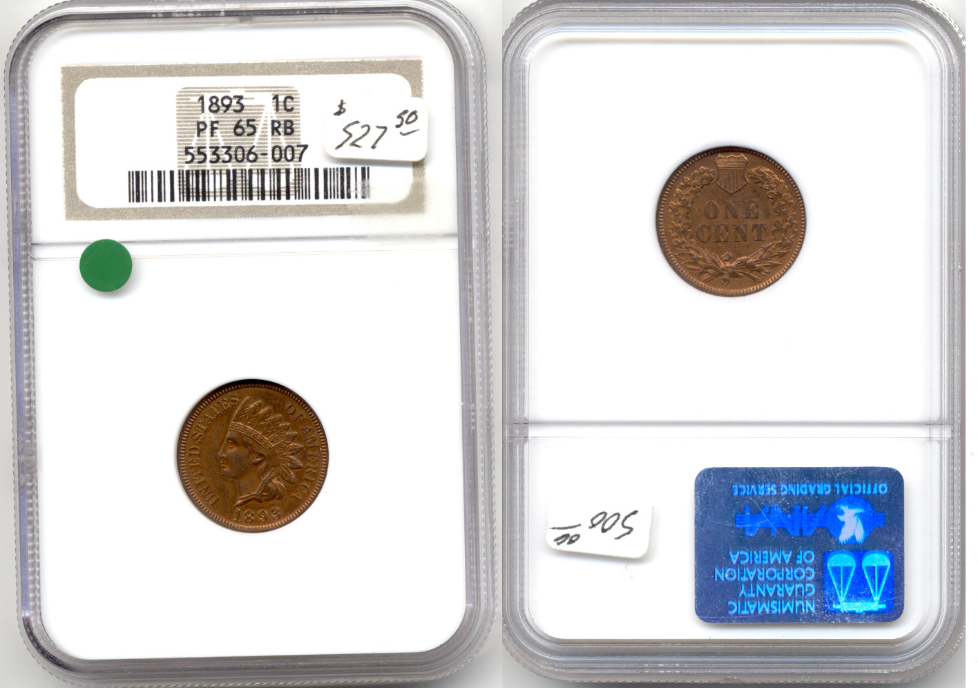 1893 Indian Head Cent In NGC Proof-65 Red Brown