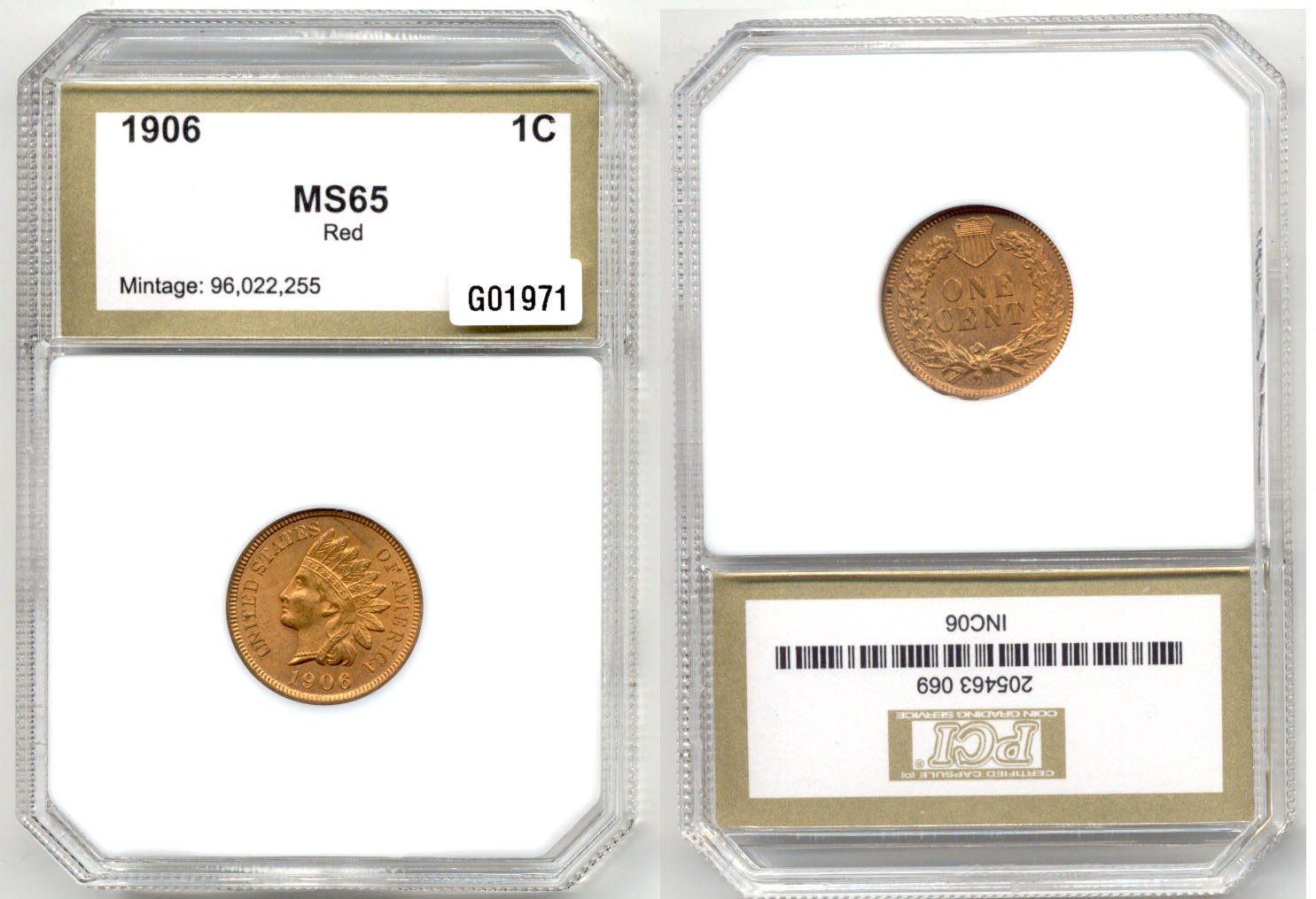 1906 Indian Head Cent PCI MS-65 Red