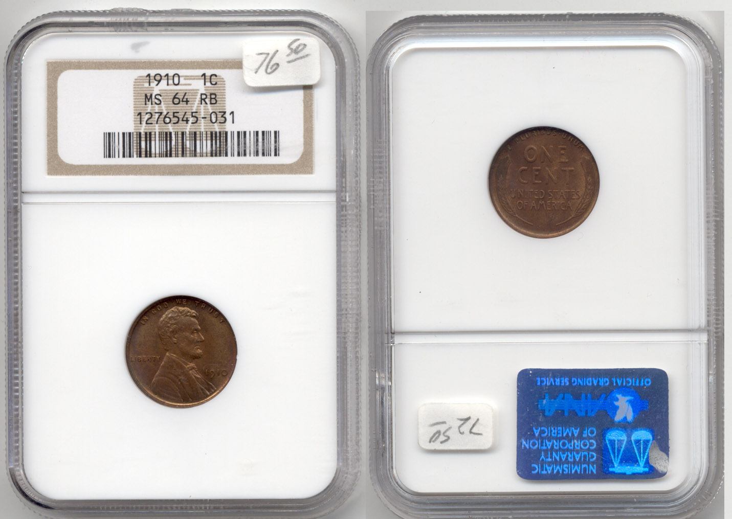 1910 Lincoln Cent NGC MS-64 Red Brown