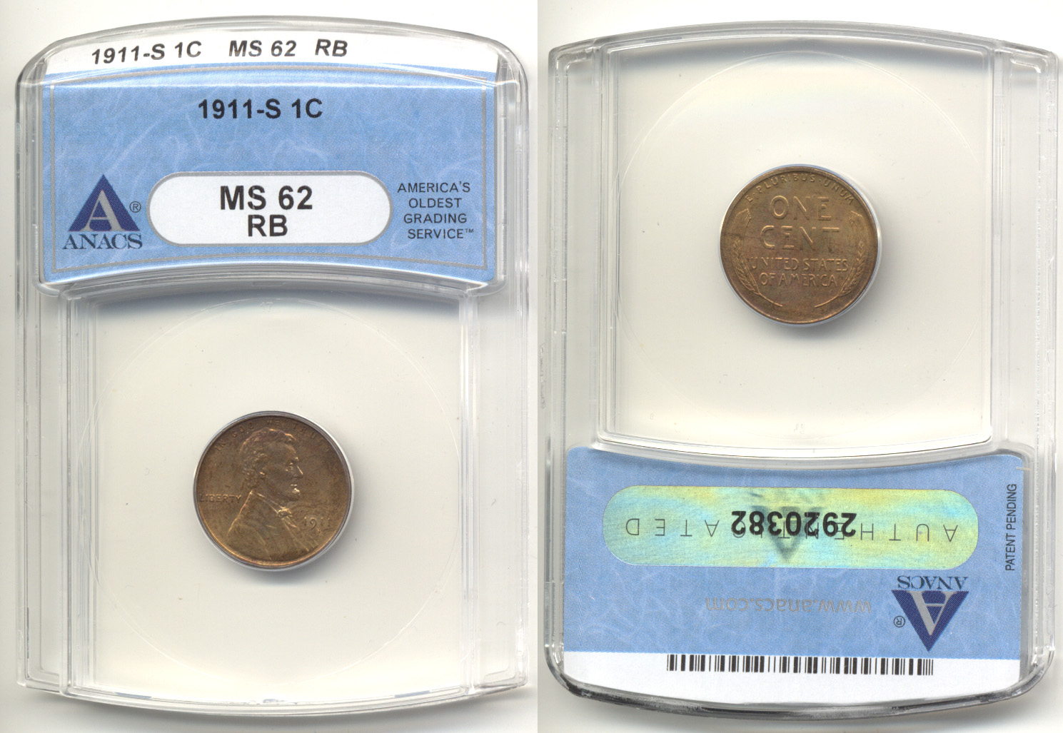 1911-S Lincoln Cent ANACS MS-62 Red Brown