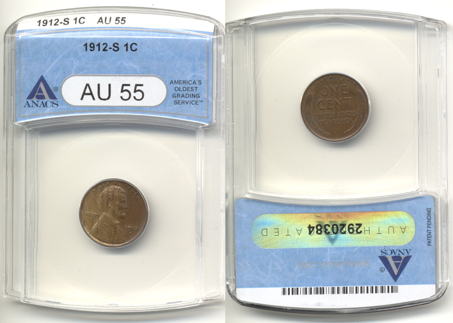 1912-S Lincoln Cent ANACS AU-55