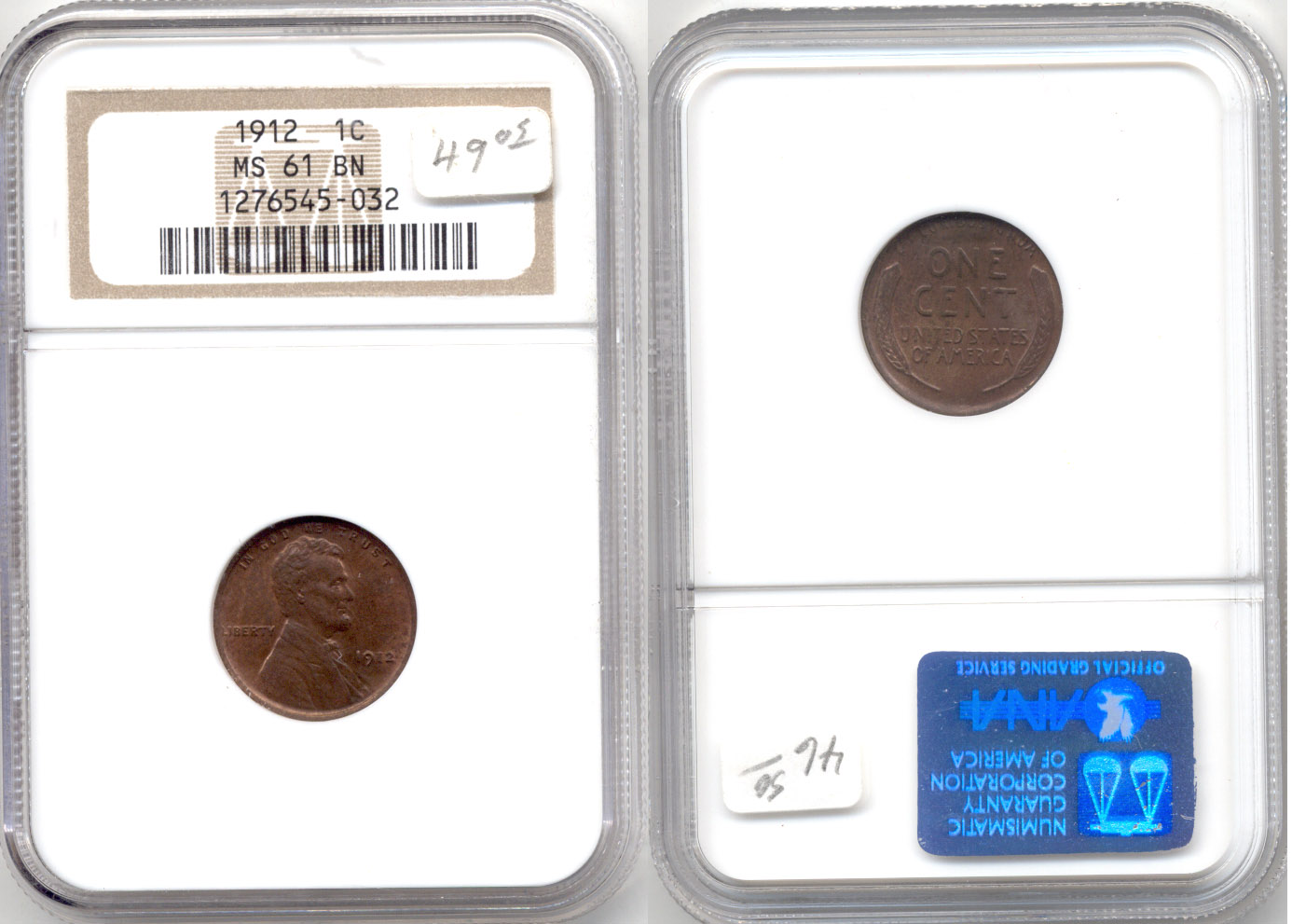 1912 Lincoln Cent NGC MS-61 Brown