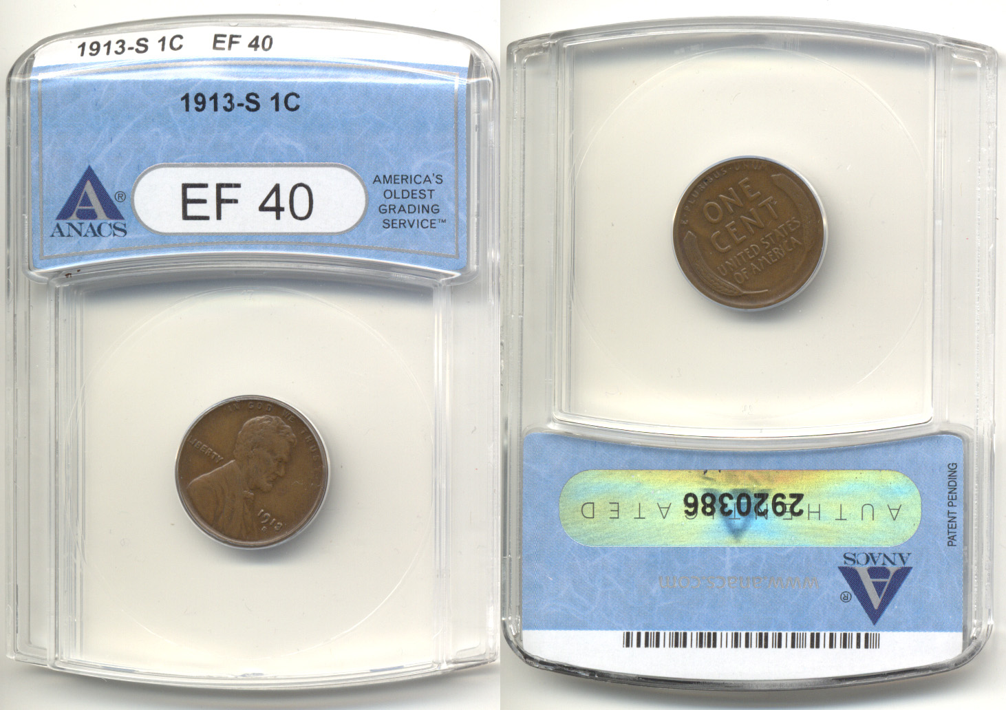 1913-S Lincoln Cent ANACS EF-40