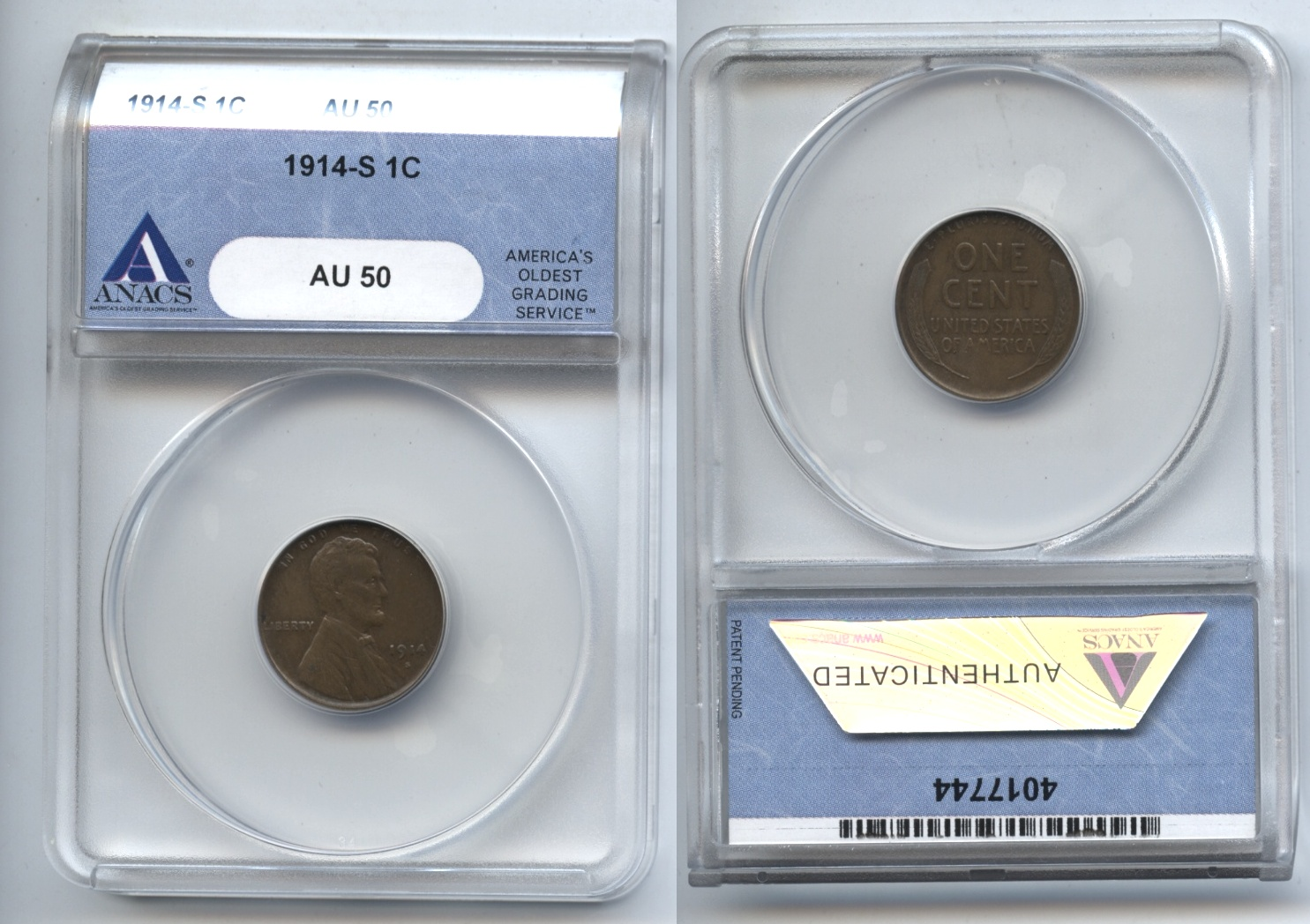 1914-S Lincoln Cent ANACS AU-50