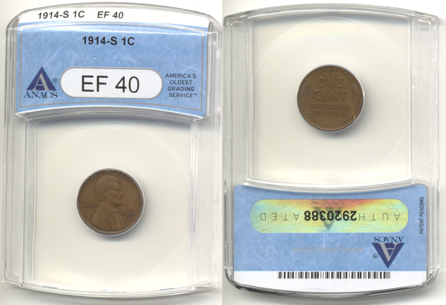 1914-S Lincoln Cent ANACS EF-40
