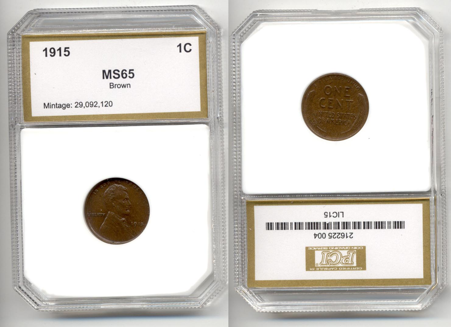 1915 Lincoln Cent PCI MS-65 Brown