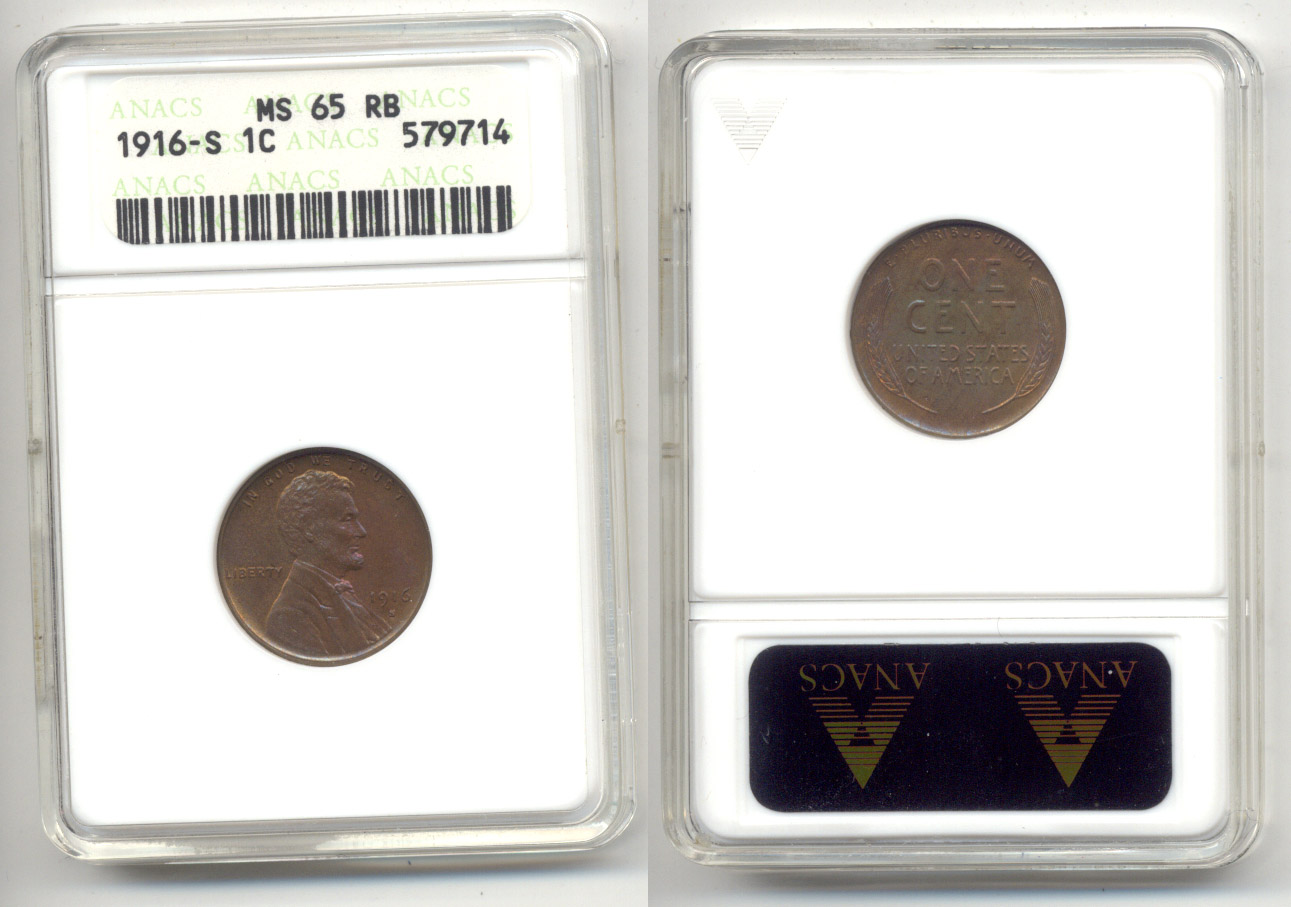 1916-S Lincoln Cent ANACS MS-65 Red and Brown