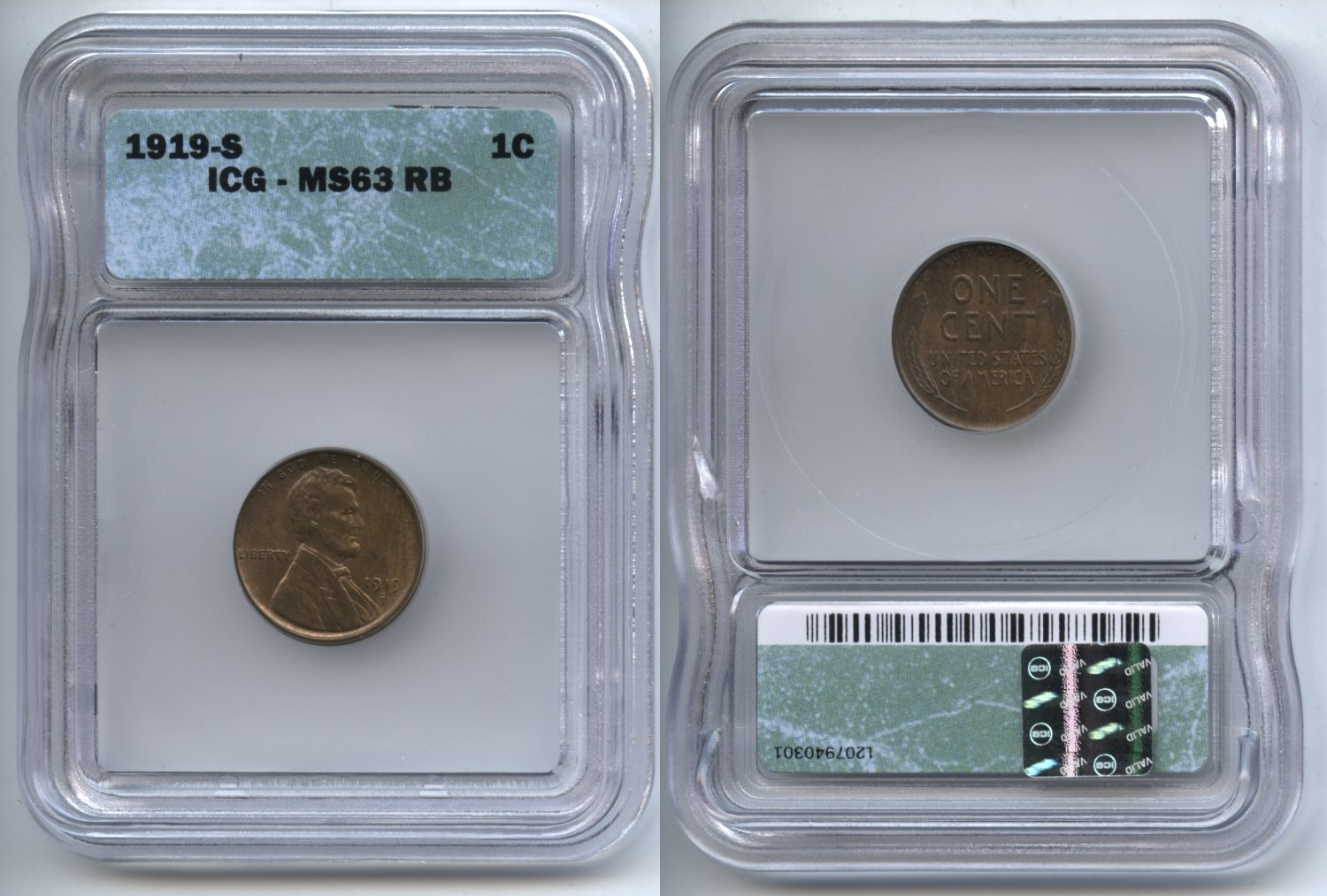 1919-S Lincoln Cent ICG MS-63 RB Red Brown