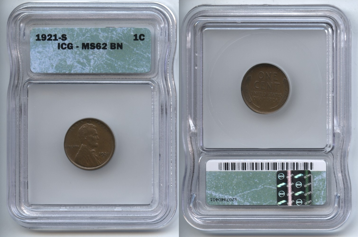 1921-S Lincoln Cent ICG MS-62 Brown
