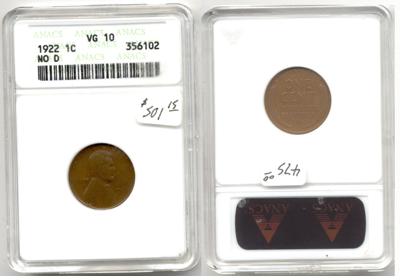 1922 No D Lincoln Cent ANACS VG-10