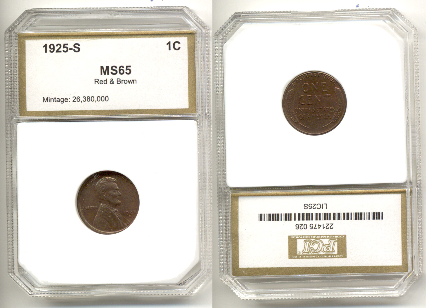 1925-S Lincoln Cent PCI MS-65 Red Brown