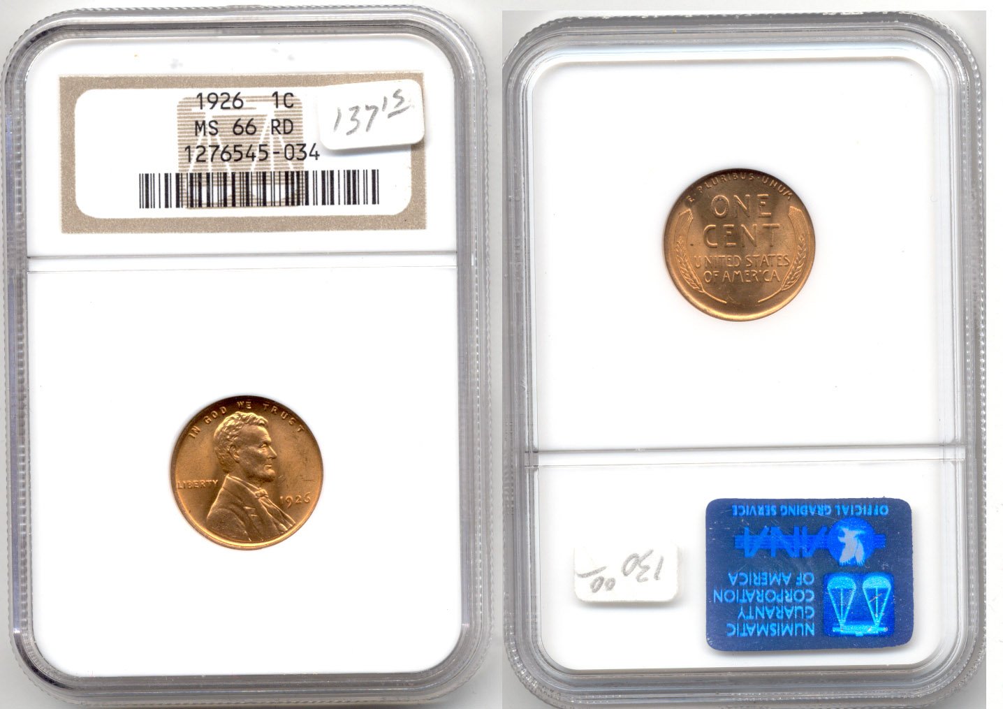 1926 Lincoln Cent NGC MS-66 Red