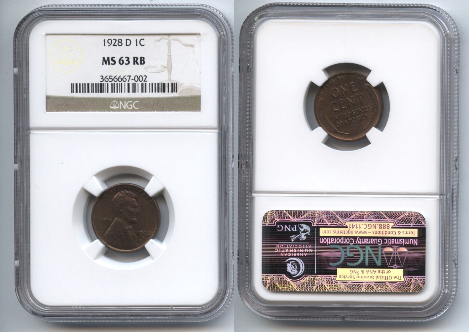 1928-D Lincoln Cent NGC MS-63 RB