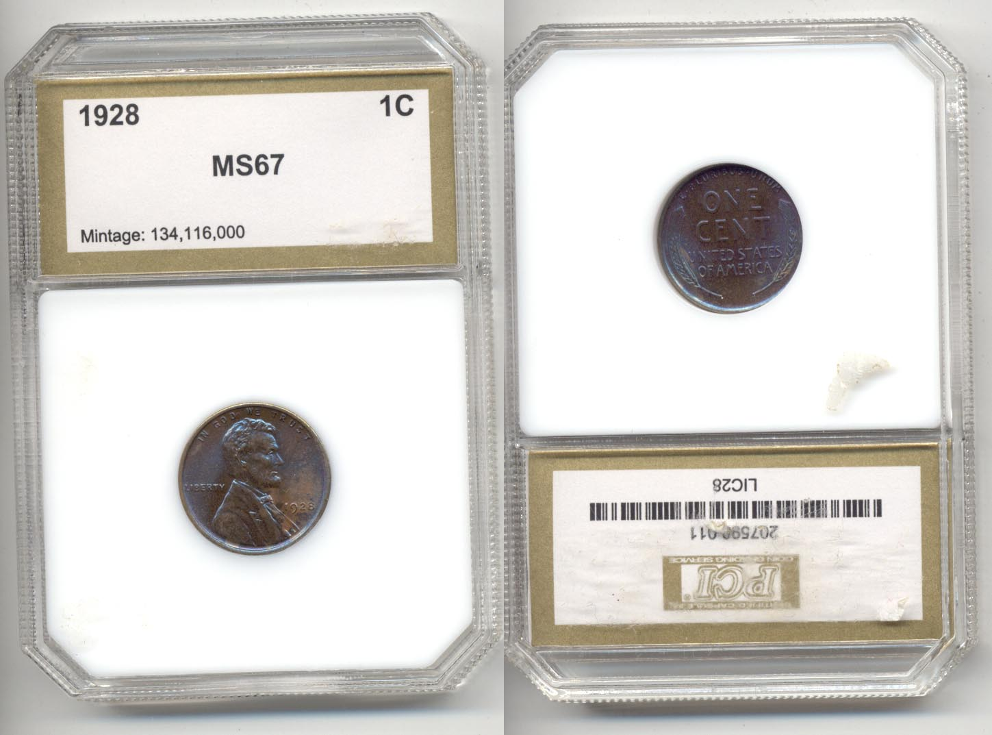 1928 Lincoln Cent PCI MS-67
