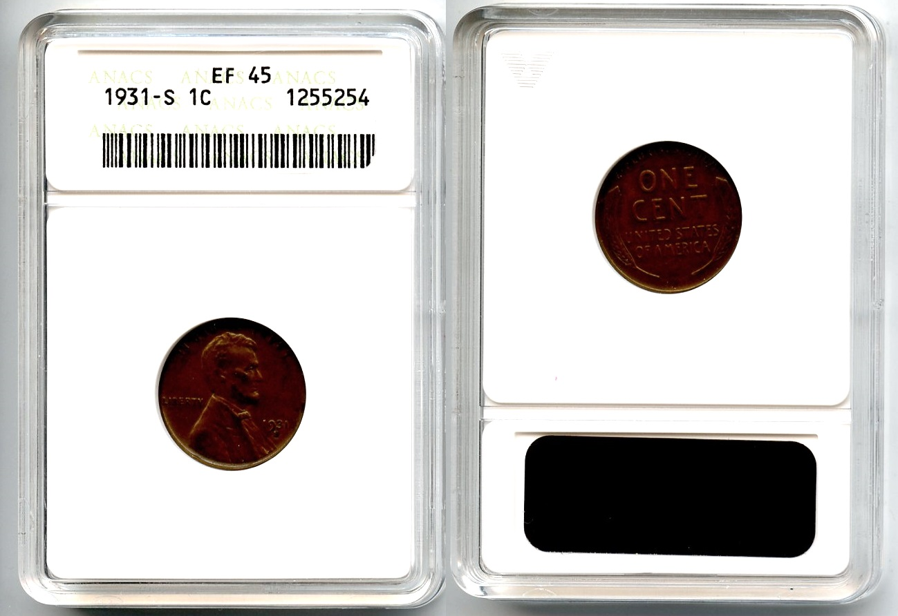 1931-S Lincoln Cent ANACS EF-45
