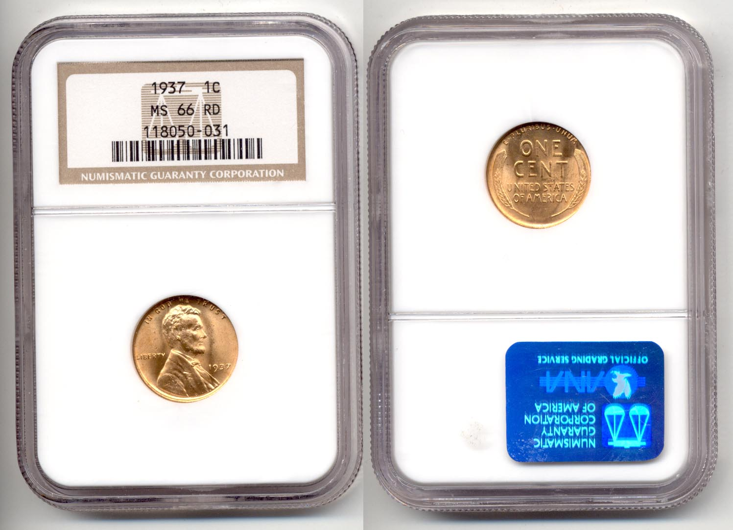 1937 Lincoln Cent NGC MS-66 Red d