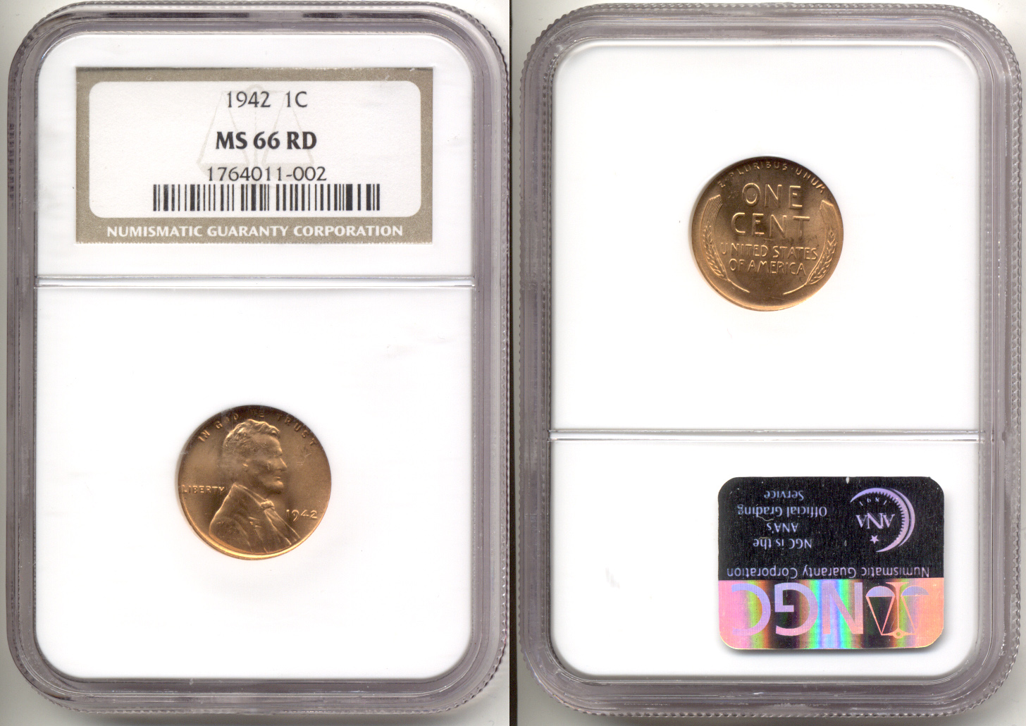 1942 Lincoln Cent PCGS MS-66 Red
