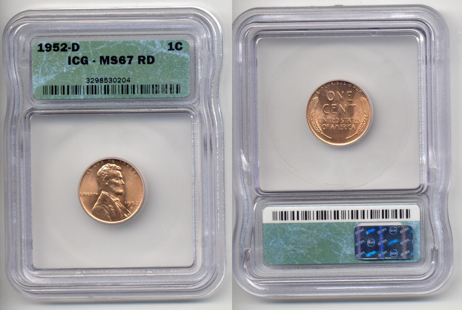 1952-D Lincoln Cent ICG MS-67 Red
