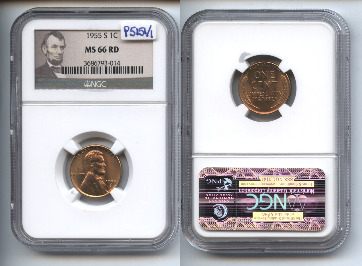 1955-S Lincoln Cent NGC MS-66 Red #a