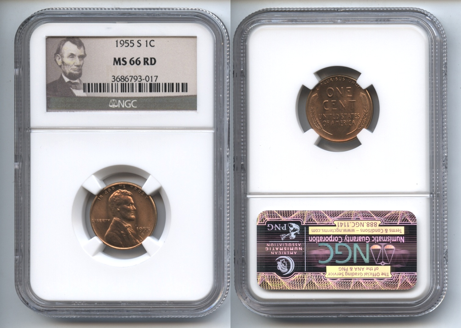 1955-S Lincoln Cent NGC MS-66 Red #d