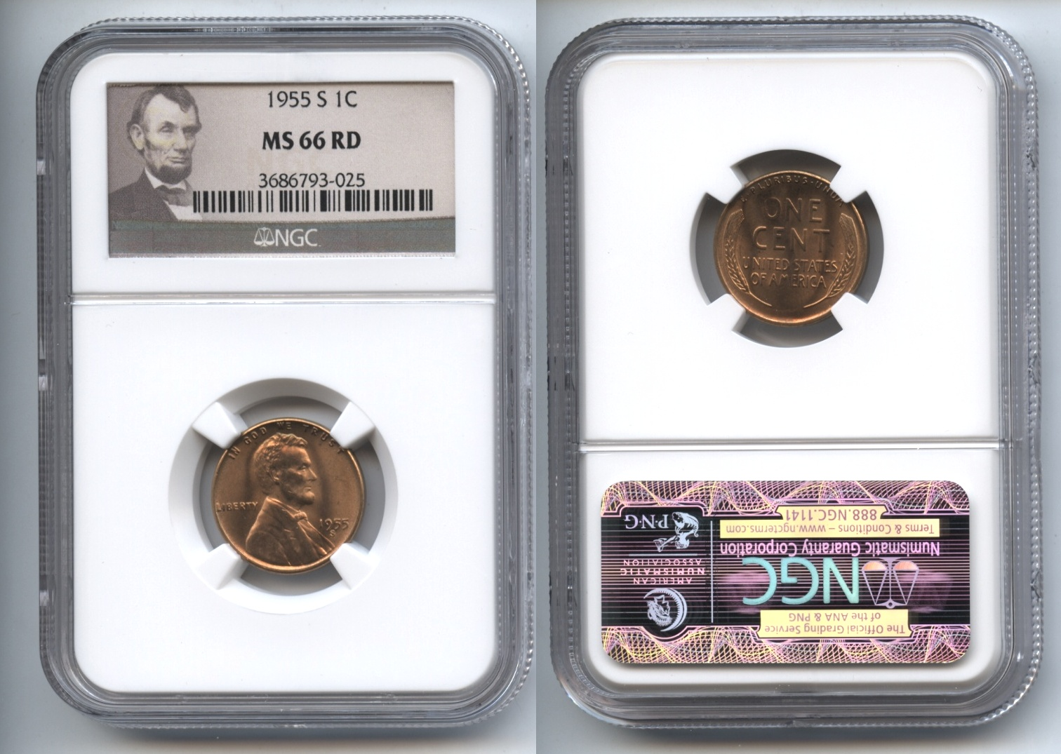 1955-S Lincoln Cent NGC MS-66 Red #k