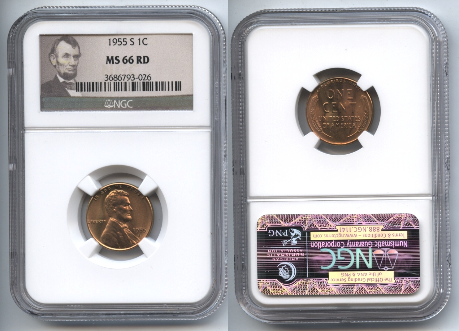 1955-S Lincoln Cent NGC MS-66 Red #l