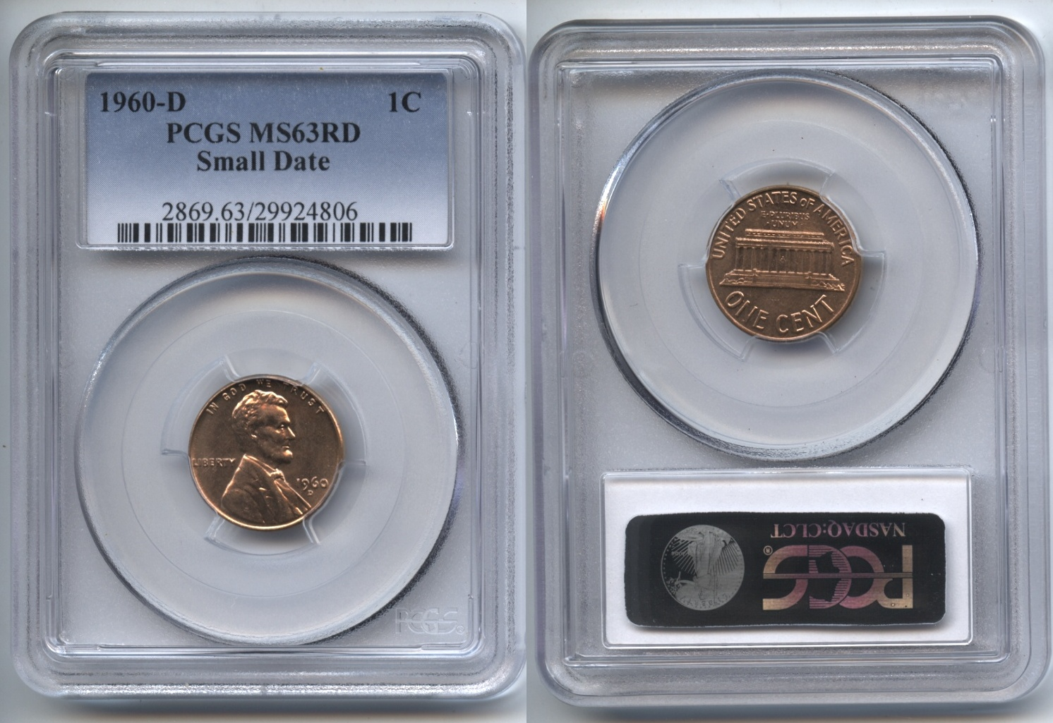 1960-D Small Date Lincoln Cent PCGS MS-63 Red