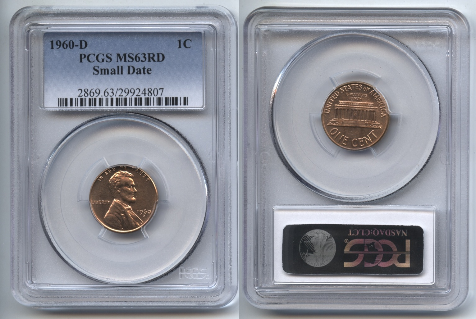 1960-D Small Date Lincoln Cent PCGS MS-63 Red #a