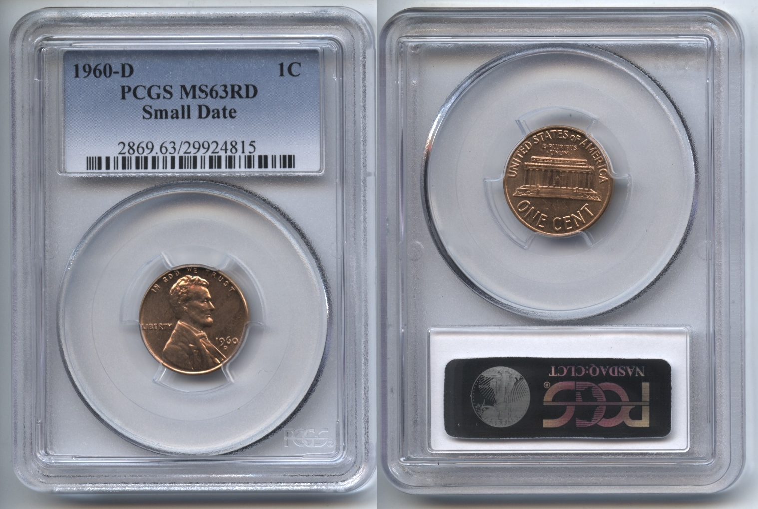 1960-D Small Date Lincoln Cent PCGS MS-63 Red #k