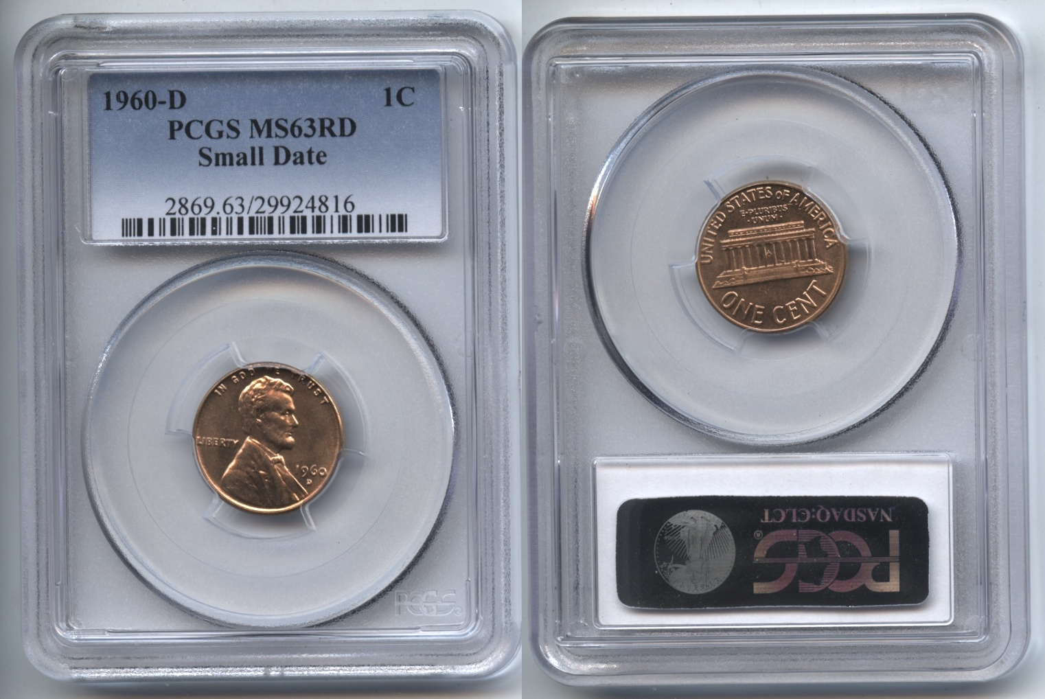 1960-D Small Date Lincoln Cent PCGS MS-63 Red #l