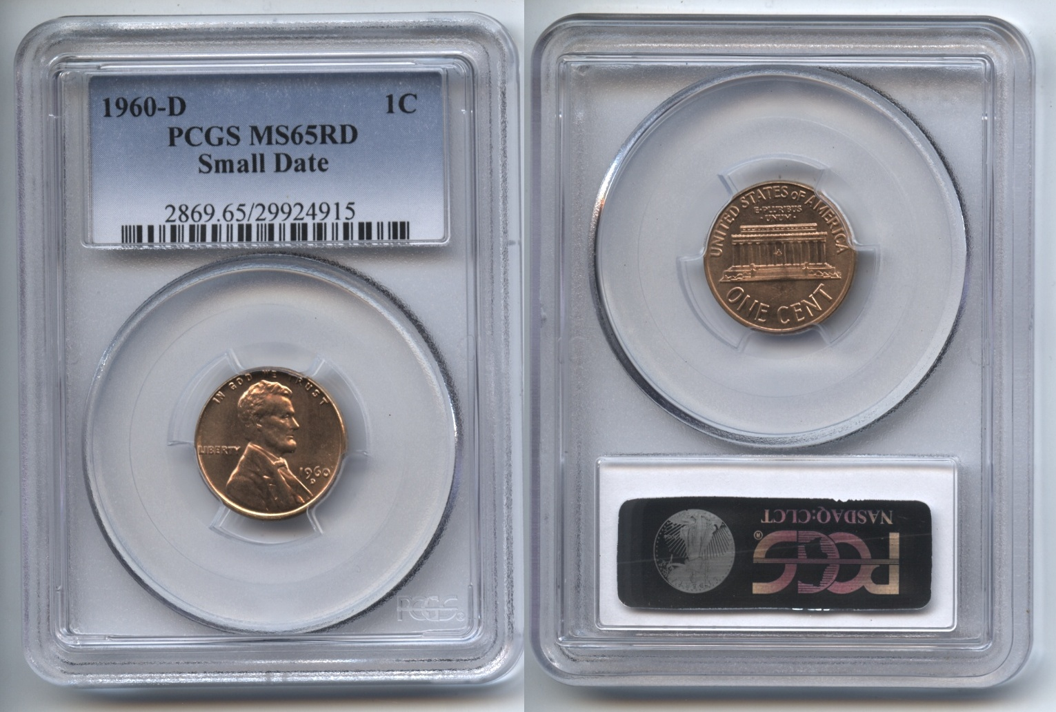 1960-D Small Date Lincoln Cent PCGS MS-65 Red #a