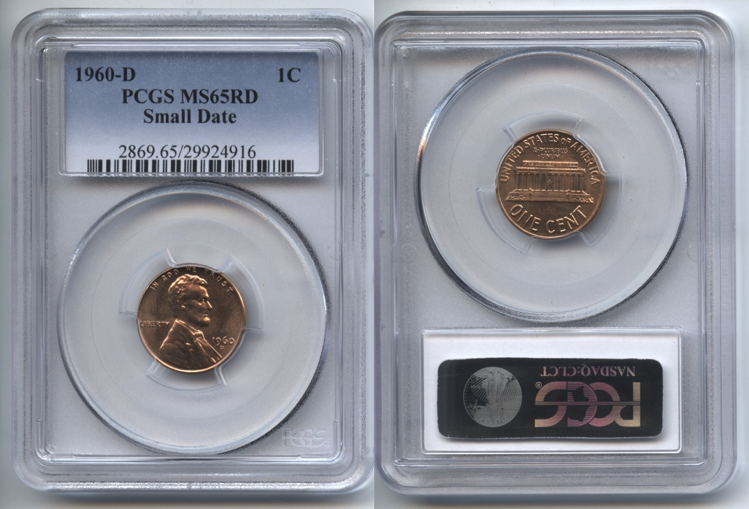 1960-D Small Date Lincoln Cent PCGS MS-65 Red #b