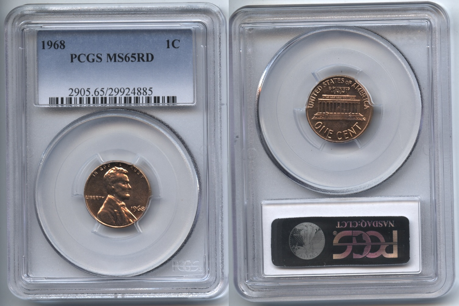 1968 Lincoln Cent PCGS MS-65 Red #i