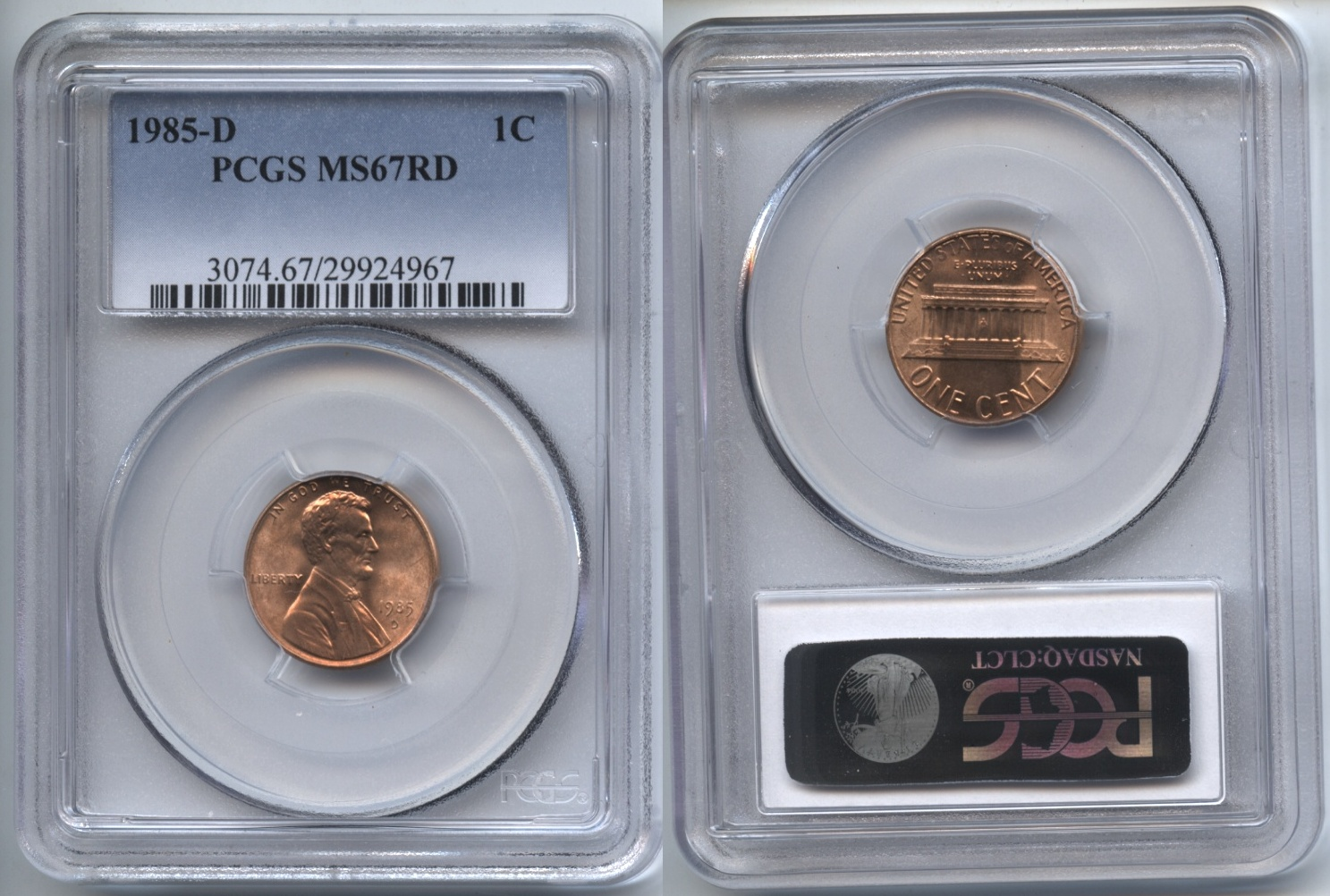 1985-D Lincoln Cent PCGS MS-67 Red