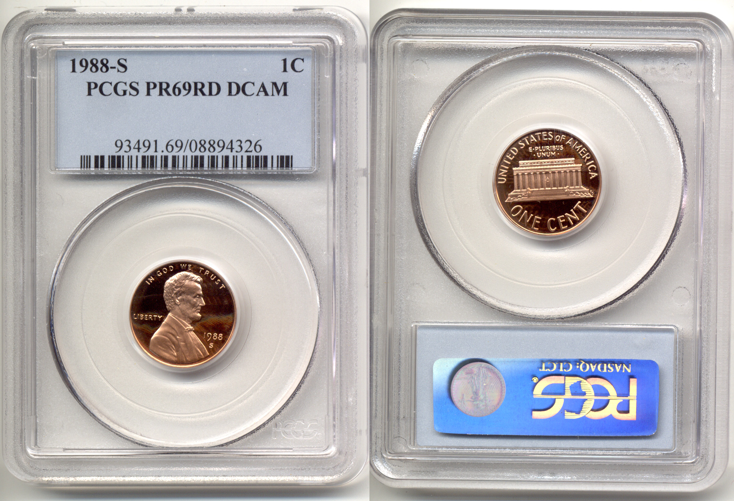 1988-S Lincoln Cent PCGS Proof-69 Red Deep Cameo a