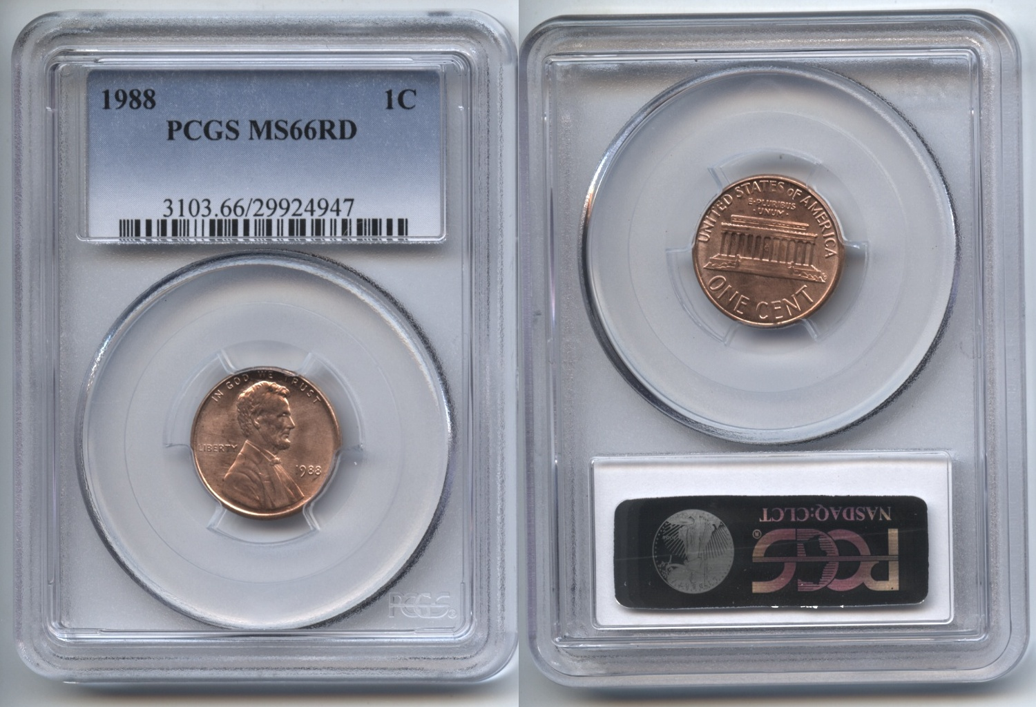 1988 Lincoln Cent PCGS MS-66 Red