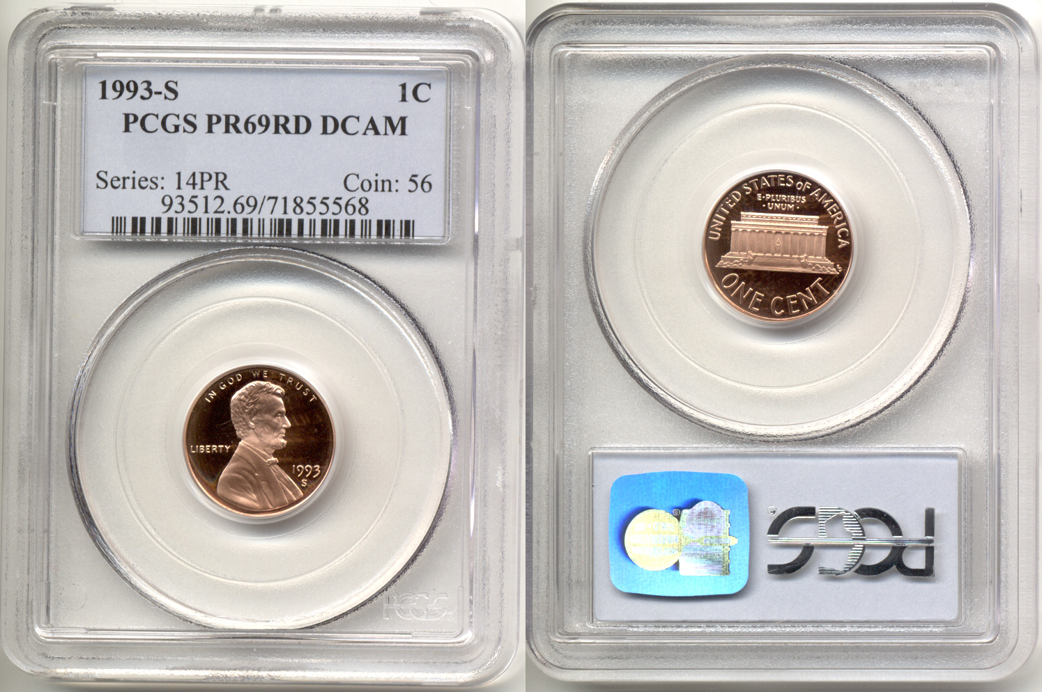 1993-S Lincoln Cent PCGS Proof-69 Red Deep Cameo