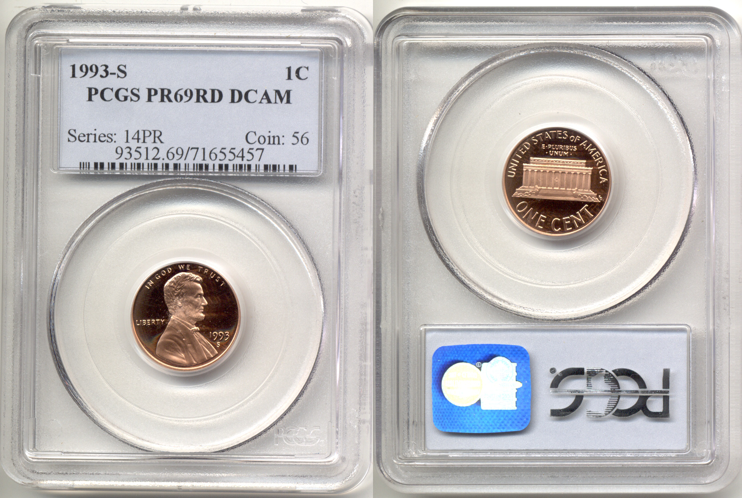 1993-S Lincoln Cent PCGS Proof-69 Red Deep Cameo b