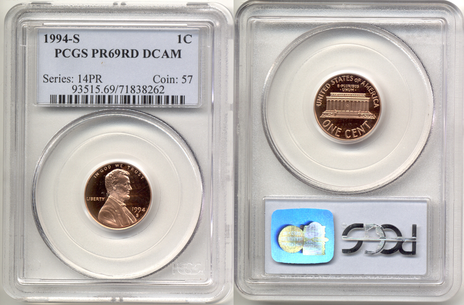 1994-S Lincoln Cent PCGS Proof-69 Red Deep Cameo b