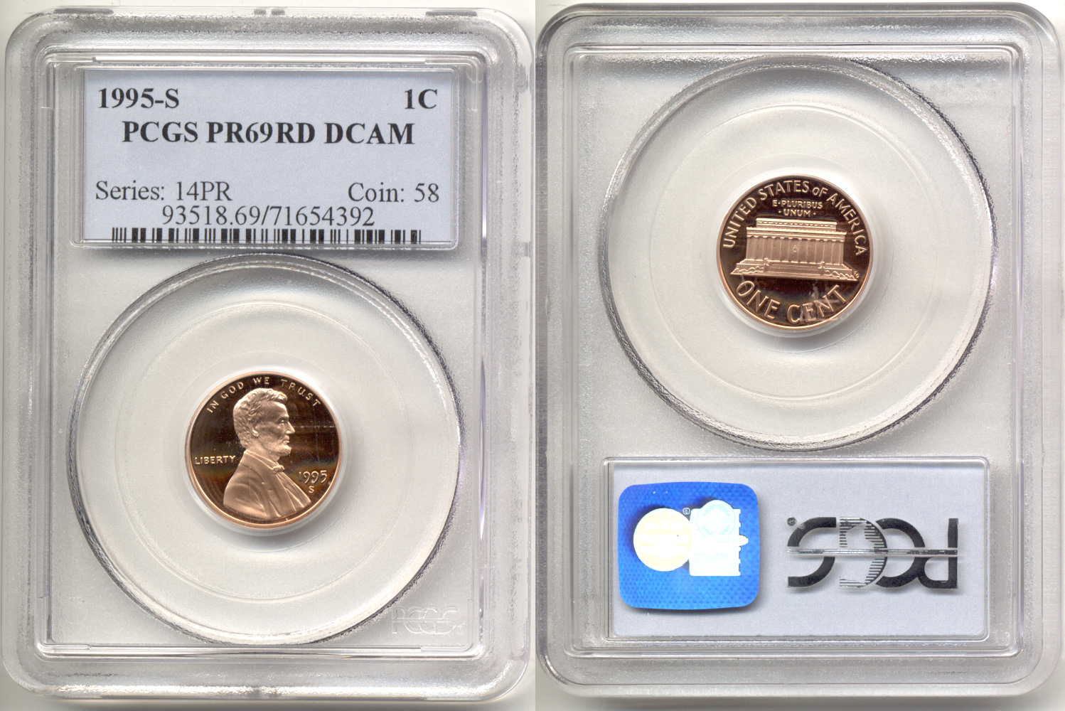 1995-S Lincoln Cent PCGS Proof-69 Red Deep Cameo