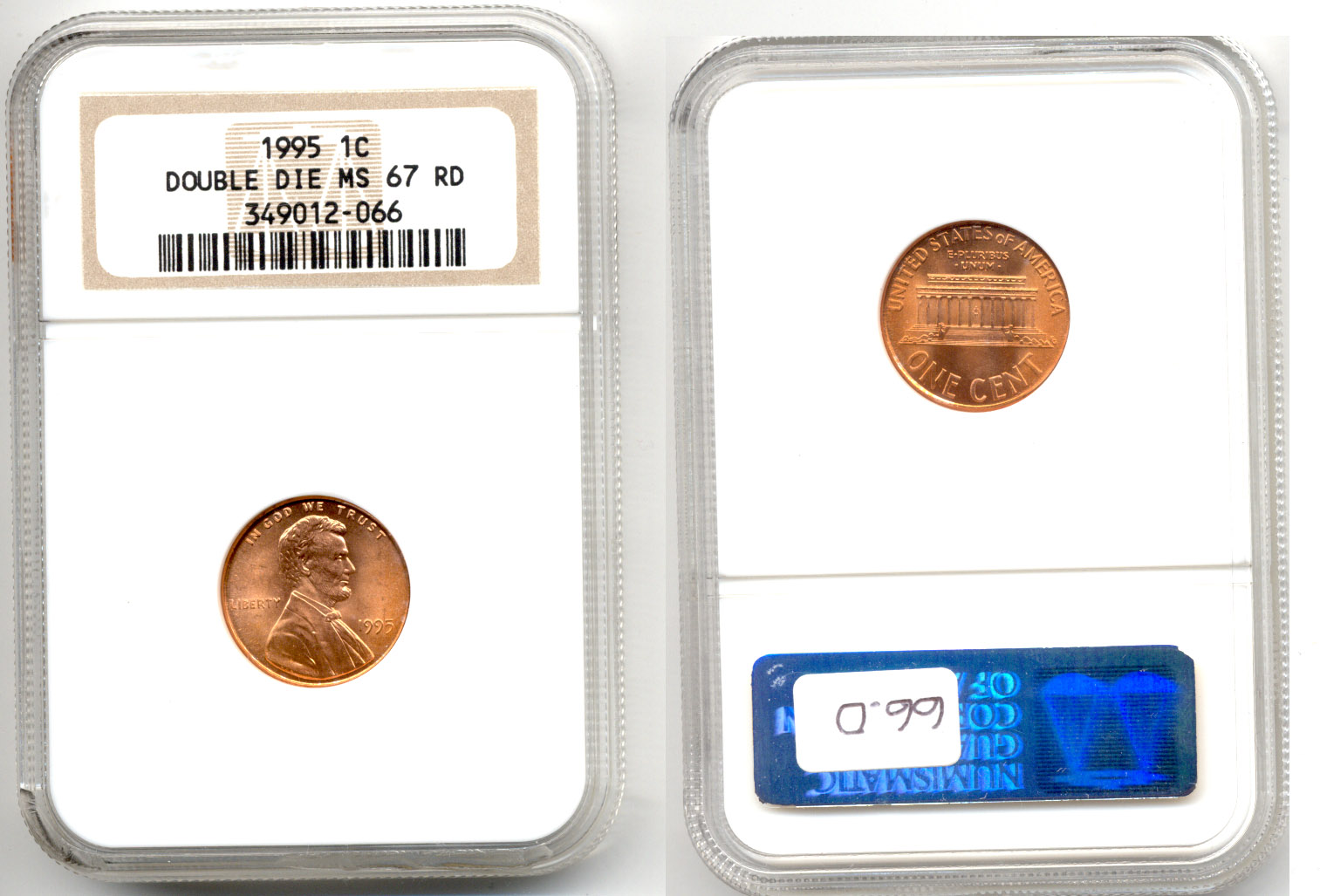 1995 Doubled Die Lincoln Cent NGC MS-67 Red