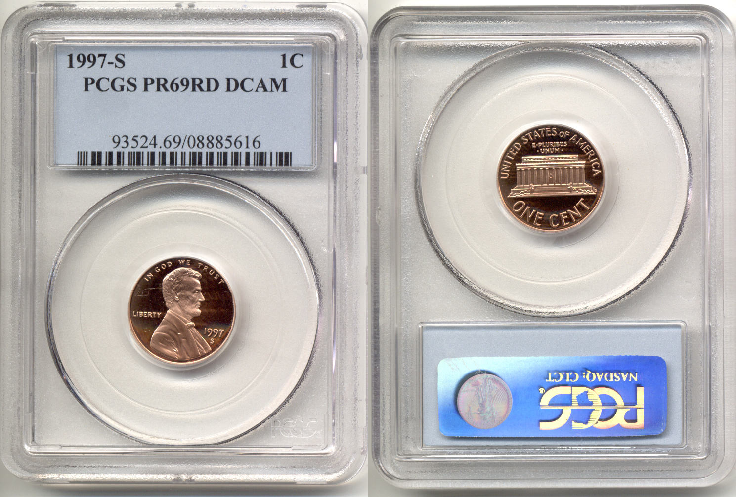 1997-S Lincoln Cent PCGS Proof-69 Red Deep Cameo a