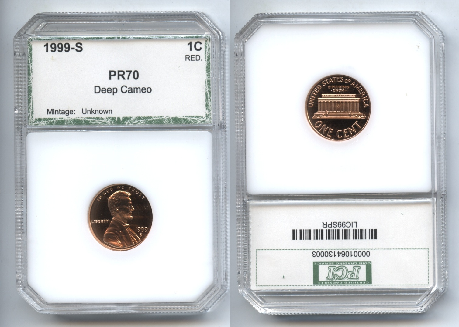 1999-S Lincoln Cent PCI Proof-70 Red Deep Cameo