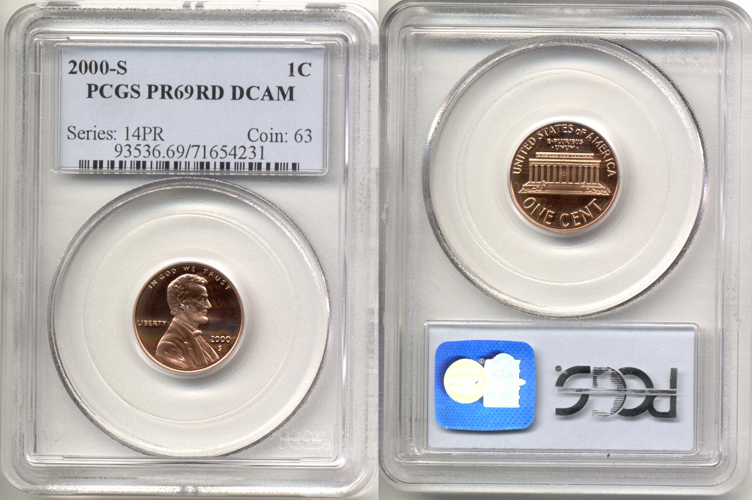 2000-S Lincoln Cent PCGS Proof-69 Red Deep Cameo b