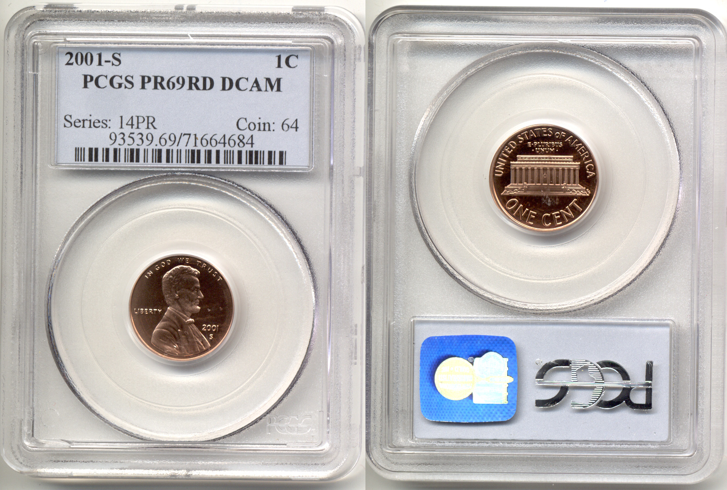 2001-S Lincoln Cent PCGS Proof-69 Red Deep Cameo a